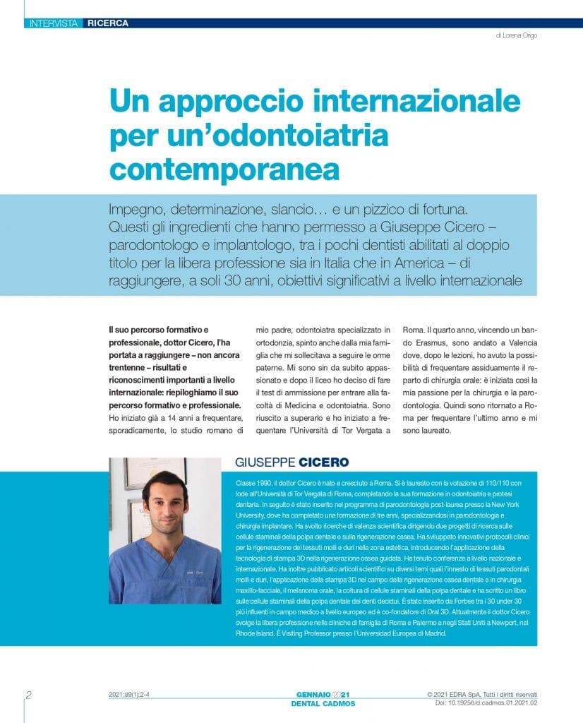 Giuseppe Cicero Odontoiatria 33 - Intervista